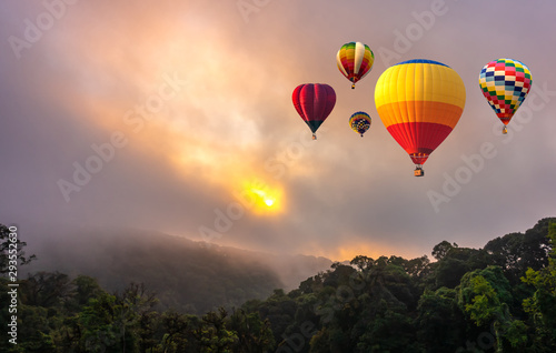 Keuken foto achterwand Ballon Colorful hot air balloons flying over Doi Inthanon National Park in sunrise time, Chiang Mai Province, Thailand.