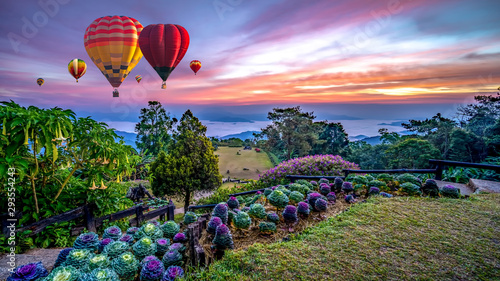 Door stickers Balloon Colorful hot air balloons flying over mountains and mist in sunrise time, Huai Nam Dang National park in sunrise, Chiang Mai Province, Thailand..