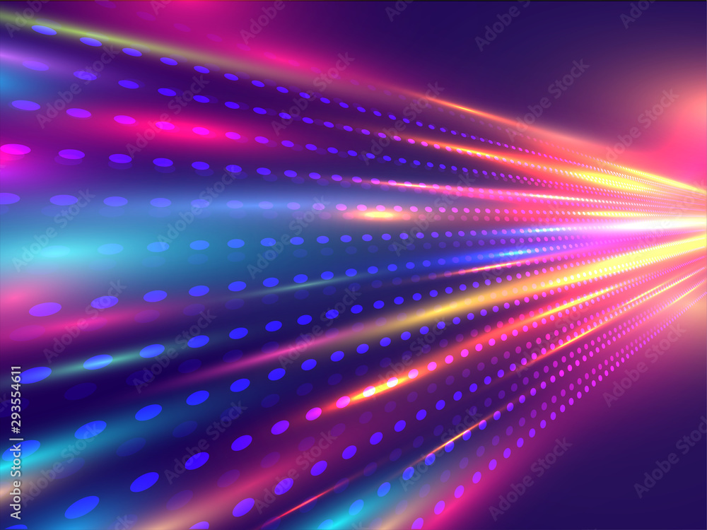 Fototapeta Technology concept based motion background with shiny bokeh effect ray trail.