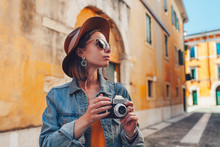 Attractive Tourist With A Retr...