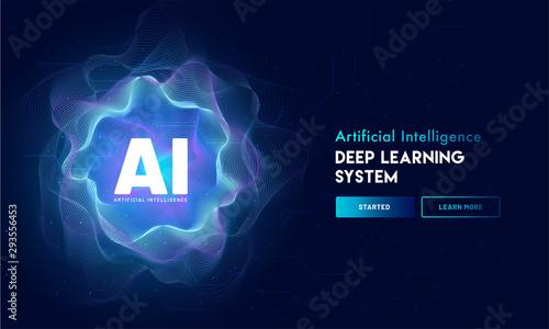 Artificial Intelligence (AI) landing page design, hi-tech blockchain network on neural network background Tapéta, Fotótapéta