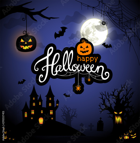 Spooky Halloween illustration with hounted castle, pumpkin lantern and evil tree in the moonlight vector