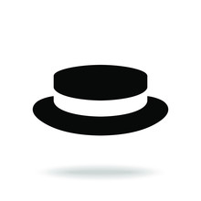 Hat Boater Graphic Icon. Black Hat Sign Isolated On White Background. Vector Illustration