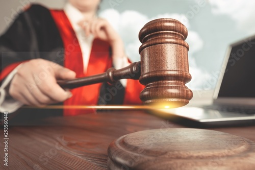 Fotografering Close-up gavel judge with lawyer working at courtroom