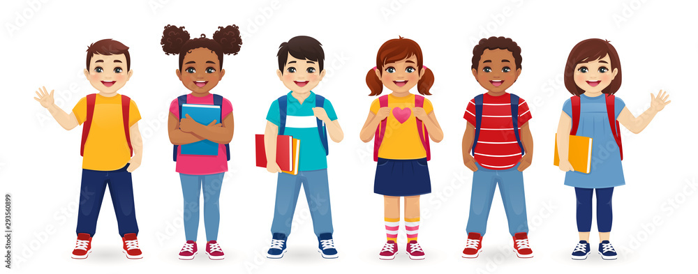 Fototapeta Smiling school children boys and girls with backpacks and books set isolated vector illustration. Multiethnic cute kids.