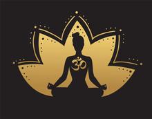 Vector Yoga Illustration In Bl...