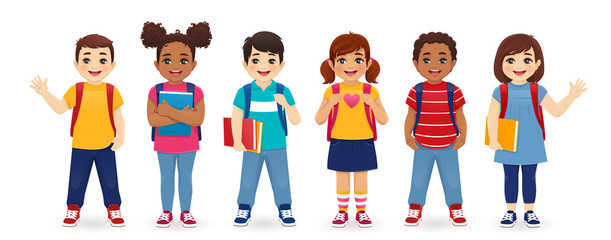Smiling school children boys and girls with backpacks and books set isolated ...