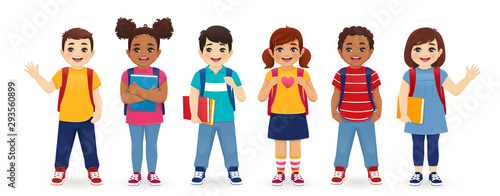 Smiling school children boys and girls with backpacks and books set isolated vector illustration. Multiethnic cute kids.