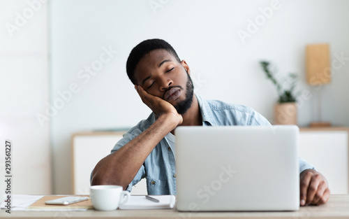 Canvas Prints Wall Decor With Your Own Photos Exhausted African American worker felt asleep at workplace
