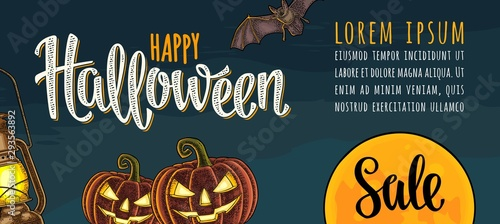 Foto auf Leinwand Logo Horizontal poster with Happy Halloween lettering and engraving illustration