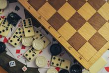 Close Up Various Board Games C...