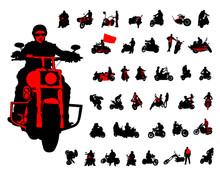 Set Of Motor Bike And Man Whit...