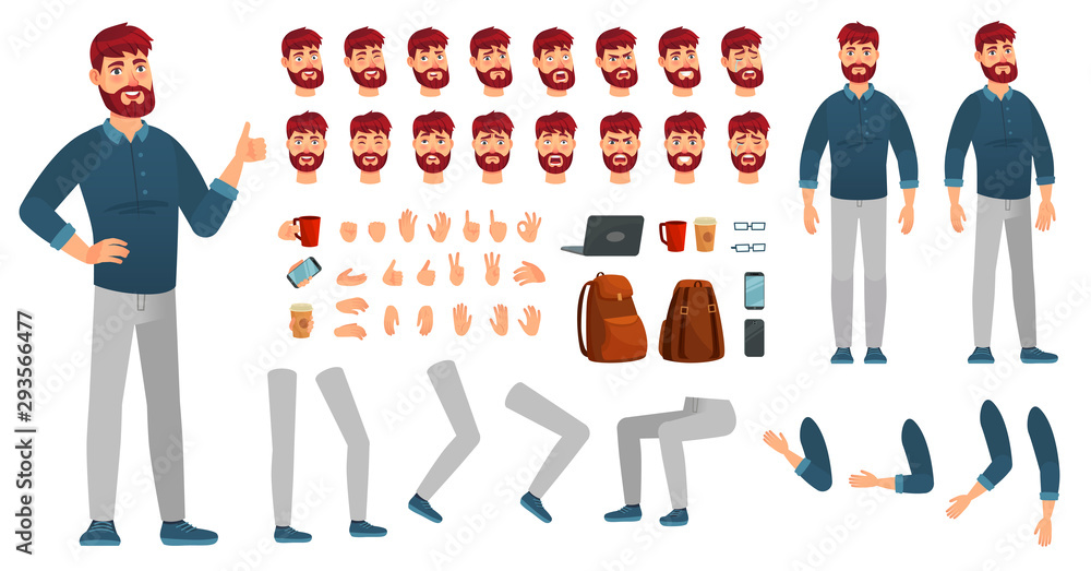 Fototapeta Cartoon male character kit. Man in casual clothing, different hands, legs poses and facial emotion. Characters constructor vector set
