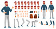 Cartoon male character kit. Man in casual clothing, different hands, legs poses and facial emotion. Characters constructor vector set