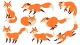 Fototapeta Fototapety na ścianę do pokoju dziecięcego - Cartoon red fox. Funny foxes with black paws, cute jumping animal vector illustration set