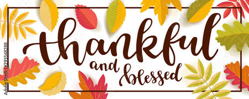 Thankful and blessed Thanksgiving quote horizontal banner Canvas Print