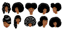 Black Women Vector Set Clipart Design