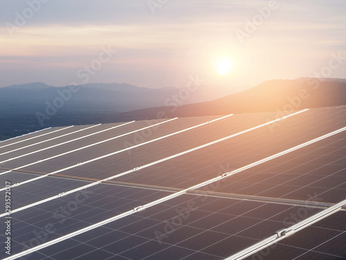 solar panel system with sky and sunset using for background or banner design for green energy saving concept with copy space Fototapet