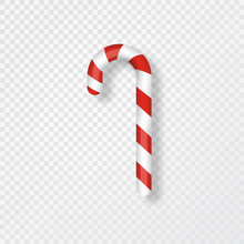 Candy Cane Isolated On Transparent Background. Realistic Red And White Xmas Candy Cane. Merry Christmas Design Element For Greeting Cards, Poster, Banner, Invitation. Vector Illustration