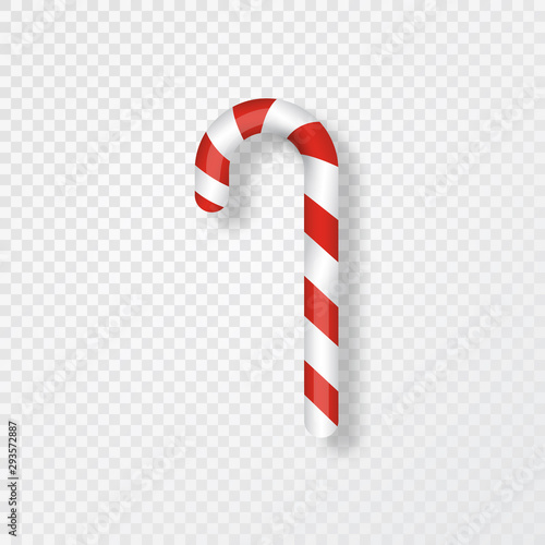 Fotografiet Candy cane isolated on transparent background