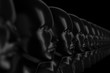 canvas print picture Abstract black background with many identical out-of-focus female doll faces, one of which is in focus 3D illustration