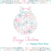 Isolated On Transparent Background Vector Merry Christmas And Happy New Year Greeting Card Template With Christmas Balls And Snowflakes In Pink, Blue And Grey Colors And Lettering