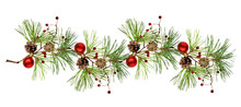 Pine Branch With Cones, Christmas Decoration And Red Dry Berries In A Line Arrangement