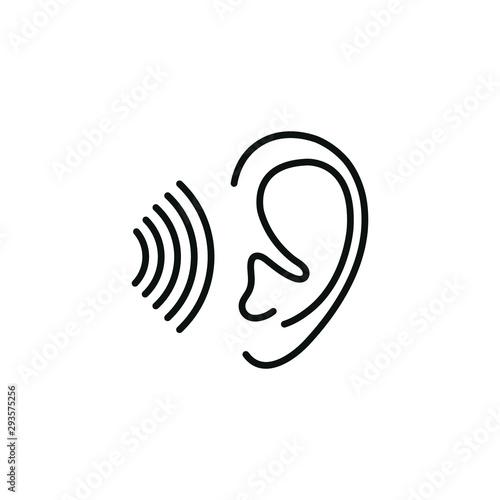 Obraz na plátne  Ear line black vector icon