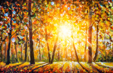 Autumn Forest Landscape Oil Painting With Sun Rays And Colorful Autumn Leaves At Tall Trees Illustration, Beauty In Nature For Posters, Background Or Wallpaper