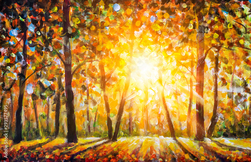 Photo Stands Melon Autumn forest landscape oil painting with sun rays and colorful autumn leaves at tall trees illustration, beauty in nature for posters, background or wallpaper