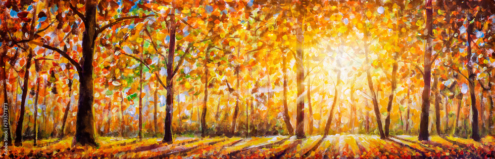 Fototapeta Gold autumn panorama impressionism oil painting. Gorgeous autumn landscape panorama of scenic forest with warm sunshine artwork