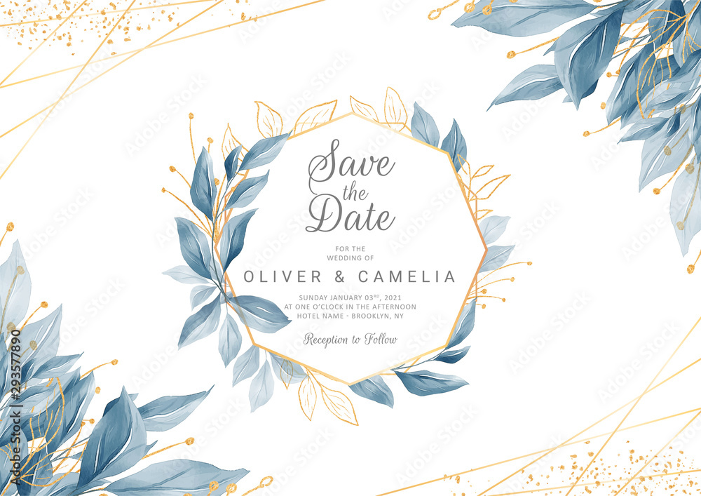 Fototapeta Modern navy blue wedding invitation card template with watercolor floral frame and border. Greenery floral border save the date, invitation, greeting card vector