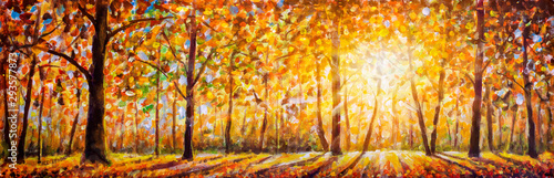 Photo Stands Melon Gold autumn panorama impressionism oil painting. Gorgeous autumn landscape panorama of scenic forest with warm sunshine artwork