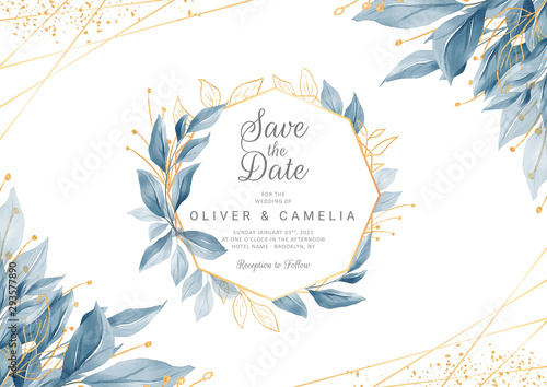 Obraz Modern navy blue wedding invitation card template with watercolor floral frame and border. Greenery floral border save the date, invitation, greeting card vector - fototapety do salonu
