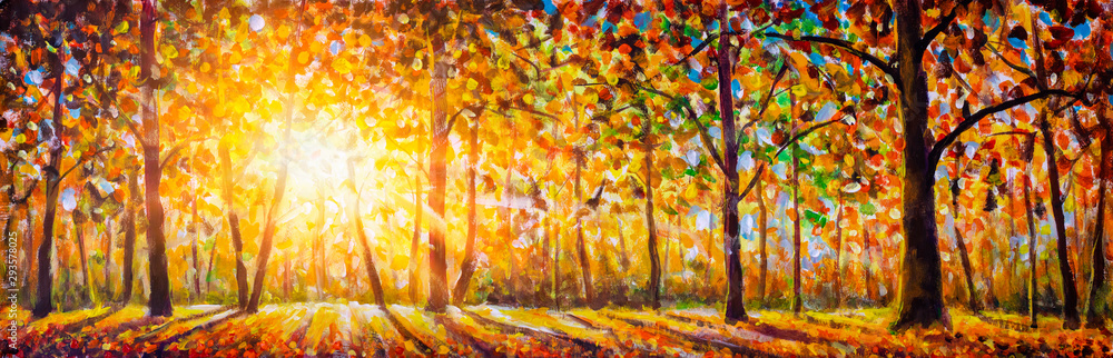 Fototapeta Extra wide panorama of gorgeous forest in autumn oil painting, scenic landscape with pleasant warm sunshine watercolor. Modern art.