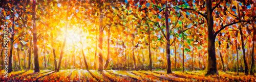 Foto auf AluDibond Orange Extra wide panorama of gorgeous forest in autumn oil painting, scenic landscape with pleasant warm sunshine watercolor. Modern art.