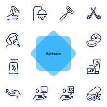 Self Care Line Icon Set. Showe...