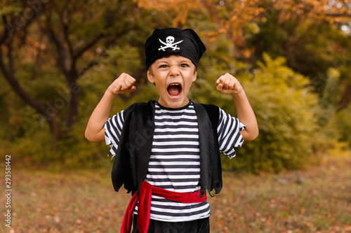 Cuadros en Lienzo Little boy in pirate costume showing strength