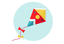 Kite Vector Illustration. Flat...