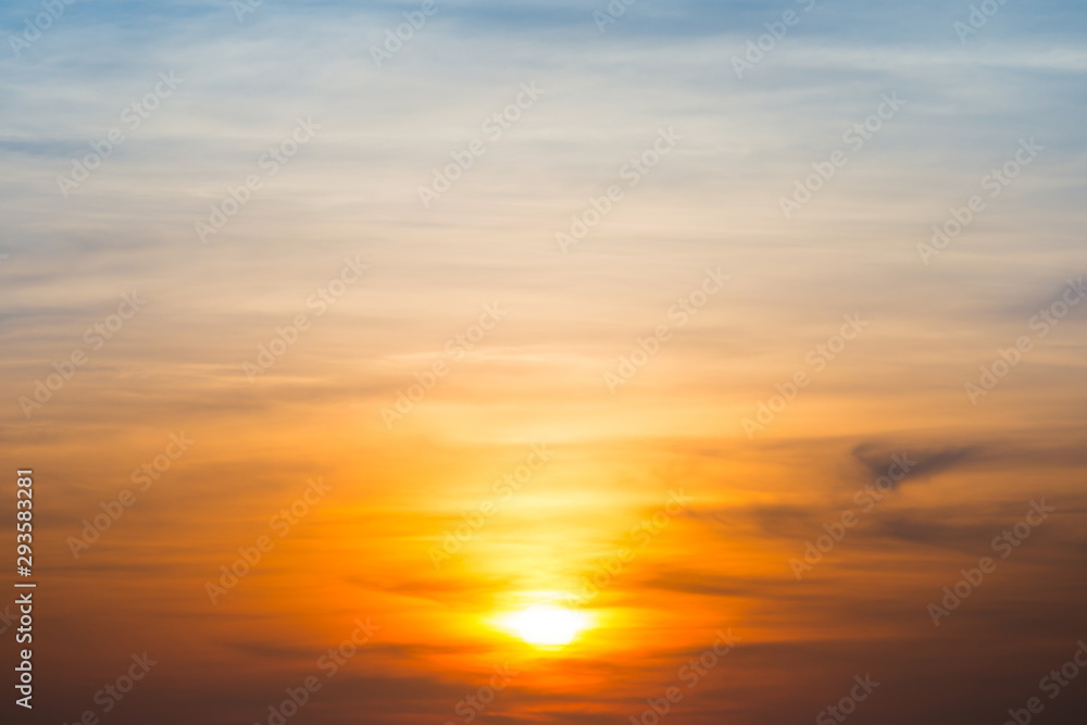 Fototapeta Beautiful sky and clouds with orange dramatic sunset. Can be used as abstract or nature background