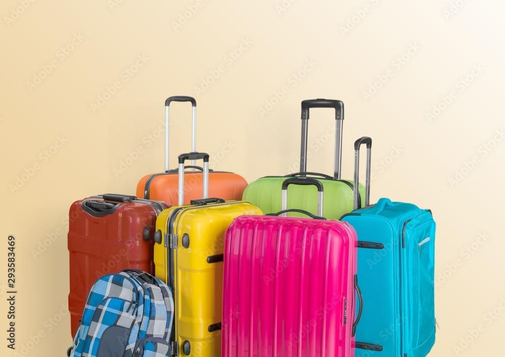 Fototapeta Minimal suitcase travel accessories airplane airport arrival