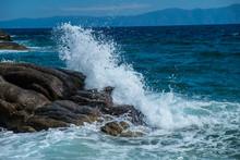Splash Of Sea Water Waves Hitt...