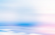 Abstract Sea Background, Long Exposure View Of Dreamy Ocean Coast In Summer