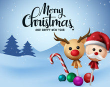 Christmas Vector Background Design. Merry Christmas And Happy New Year Typography With Xmas Balls, Candy Cane And Sweet Lollipop In Reindeer And Santa Claus Cover In Snow Background.