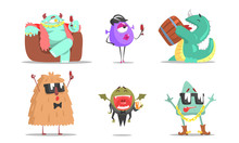 Set Of Cute Humanized Monsters. Vector Illustration.