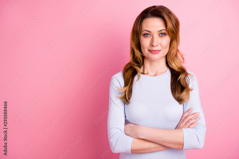Fototapeta Portrait of serious focused woman look feel cool true executive ready to solve work questions wear white jumper good looking outfit isolated over pink color background