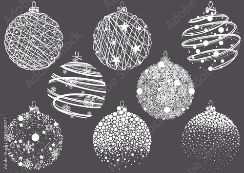 Obraz Set of Abstract Christmas Balls Drawings - Modern Design Element Illustrations for Your Xmas Project, Vector - fototapety do salonu