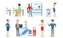 People In Airport Set, Passengers Standing At Registration Desk At Terminal, Aviation Staff Employees Vector Illustration