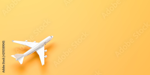 Photo White airplane isolated on yellow background. 3D illustration.