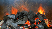 Hot Coals In The Preparing For Grilling